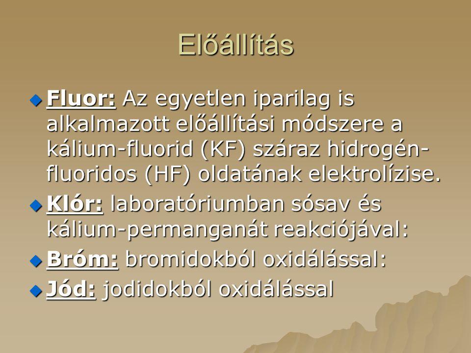 Előállítás  Fluor: Az egyetlen iparilag is alkalmazott előállítási módszere a kálium-fluorid (KF) száraz hidrogén- fluoridos (HF) oldatának elektrolízise.