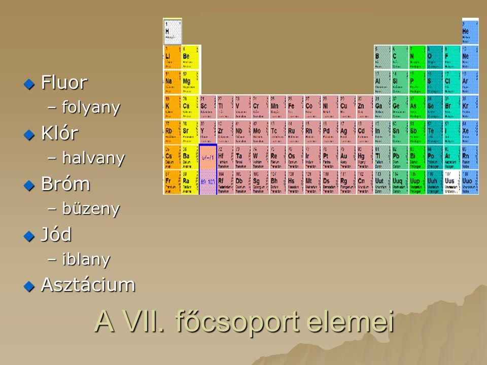 A VII. főcsoport elemei  Fluor –folyany  Klór –halvany  Bróm –büzeny  Jód –iblany  Asztácium