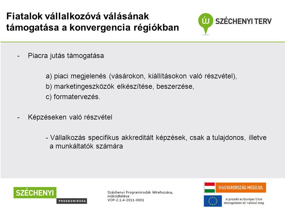 Fiatalok vállalkozóvá válásának támogatása a konvergencia régiókban -Piacra jutás támogatása a) piaci megjelenés (vásárokon, kiállításokon való részvétel), b) marketingeszközök elkészítése, beszerzése, c) formatervezés.