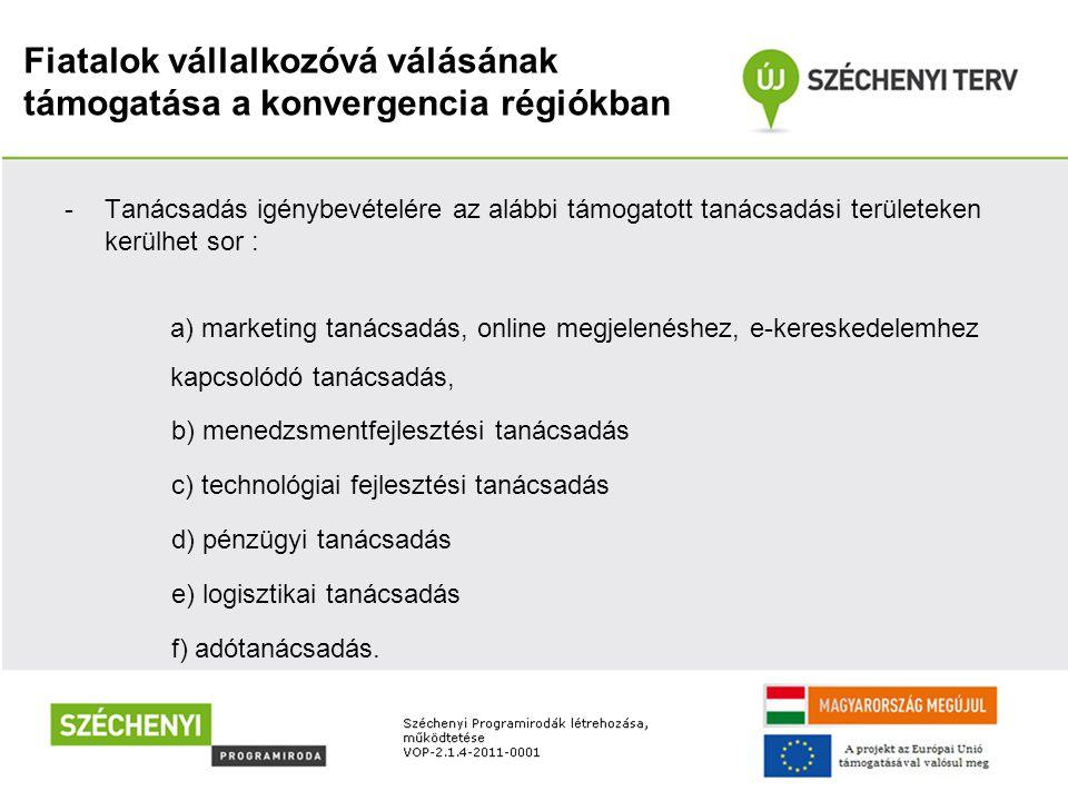 Fiatalok vállalkozóvá válásának támogatása a konvergencia régiókban -Tanácsadás igénybevételére az alábbi támogatott tanácsadási területeken kerülhet sor : a) marketing tanácsadás, online megjelenéshez, e-kereskedelemhez kapcsolódó tanácsadás, b) menedzsmentfejlesztési tanácsadás c) technológiai fejlesztési tanácsadás d) pénzügyi tanácsadás e) logisztikai tanácsadás f) adótanácsadás.