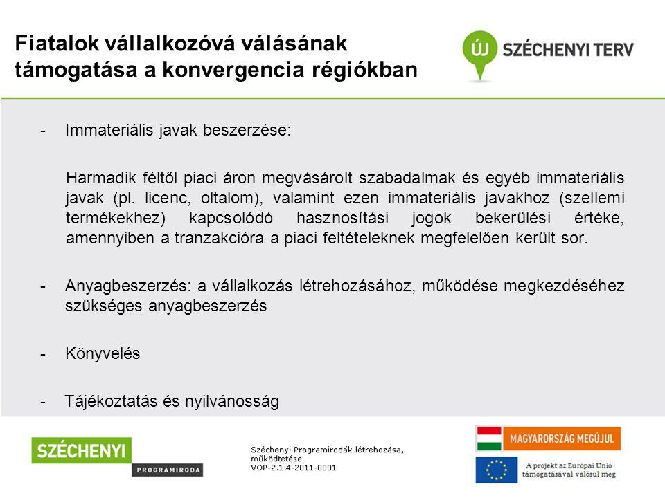 Fiatalok vállalkozóvá válásának támogatása a konvergencia régiókban -Immateriális javak beszerzése: Harmadik féltől piaci áron megvásárolt szabadalmak