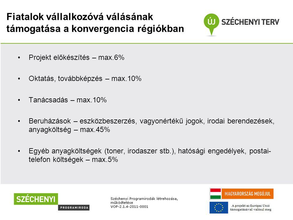 Fiatalok vállalkozóvá válásának támogatása a konvergencia régiókban Projekt előkészítés – max.6% Oktatás, továbbképzés – max.10% Tanácsadás – max.10%