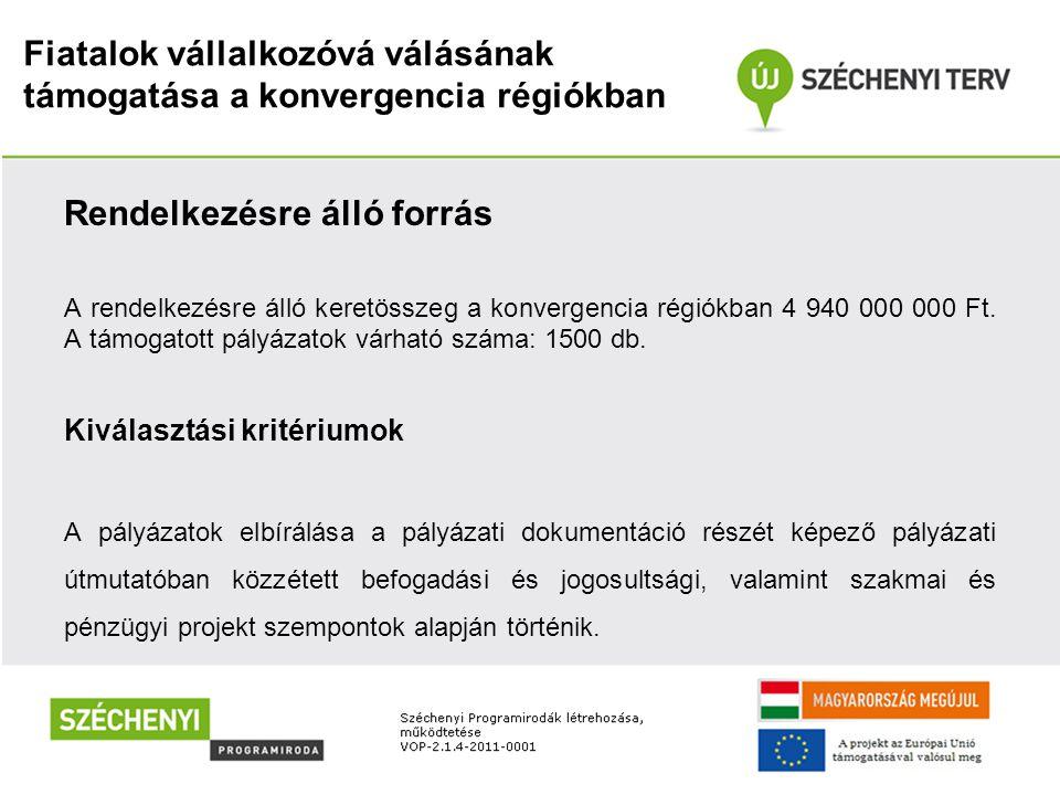 Fiatalok vállalkozóvá válásának támogatása a konvergencia régiókban Rendelkezésre álló forrás A rendelkezésre álló keretösszeg a konvergencia régiókba