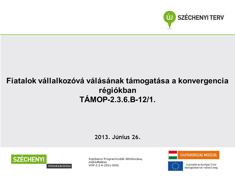 Fiatalok vállalkozóvá válásának támogatása a konvergencia régiókban TÁMOP-2.3.6.B-12/1. 2013. Június 26.