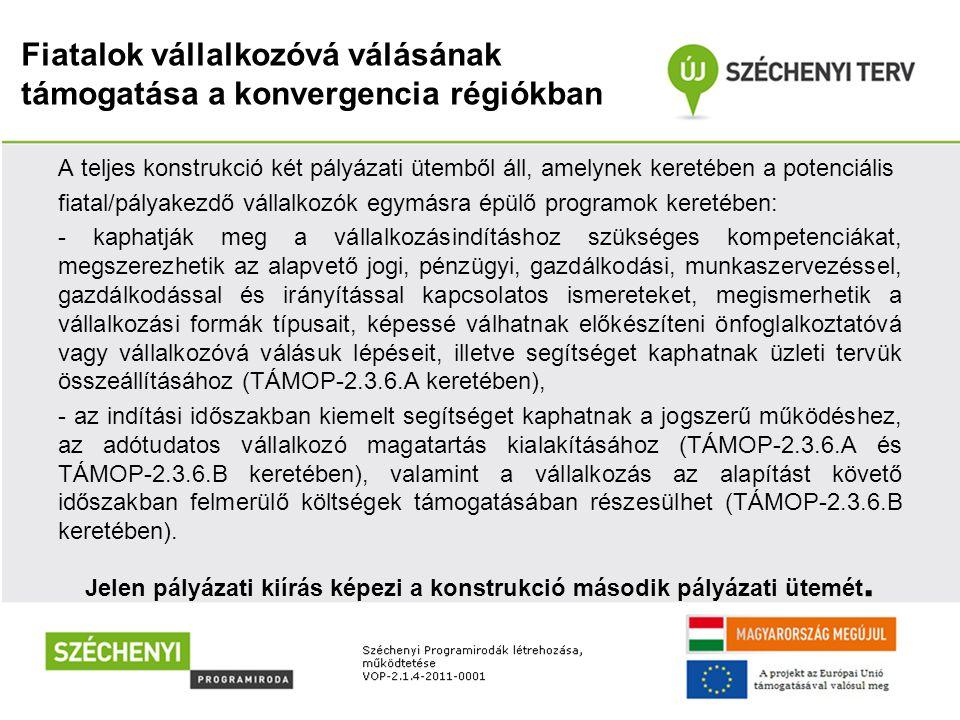 Fiatalok vállalkozóvá válásának támogatása a konvergencia régiókban Pályázók köre -A TÁMOP-2.3.6.A-12/1.