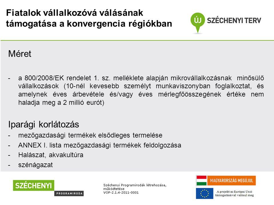 Fiatalok vállalkozóvá válásának támogatása a konvergencia régiókban Méret -a 800/2008/EK rendelet 1. sz. melléklete alapján mikrovállalkozásnak minősü
