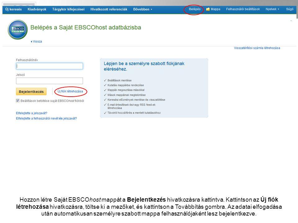 Hozzon létre Saját EBSCOhost mappát a Bejelentkezés hivatkozásra kattintva.