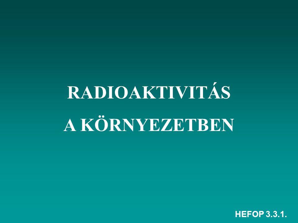 HEFOP 3.3.1. RADIOAKTIVITÁS A KÖRNYEZETBEN
