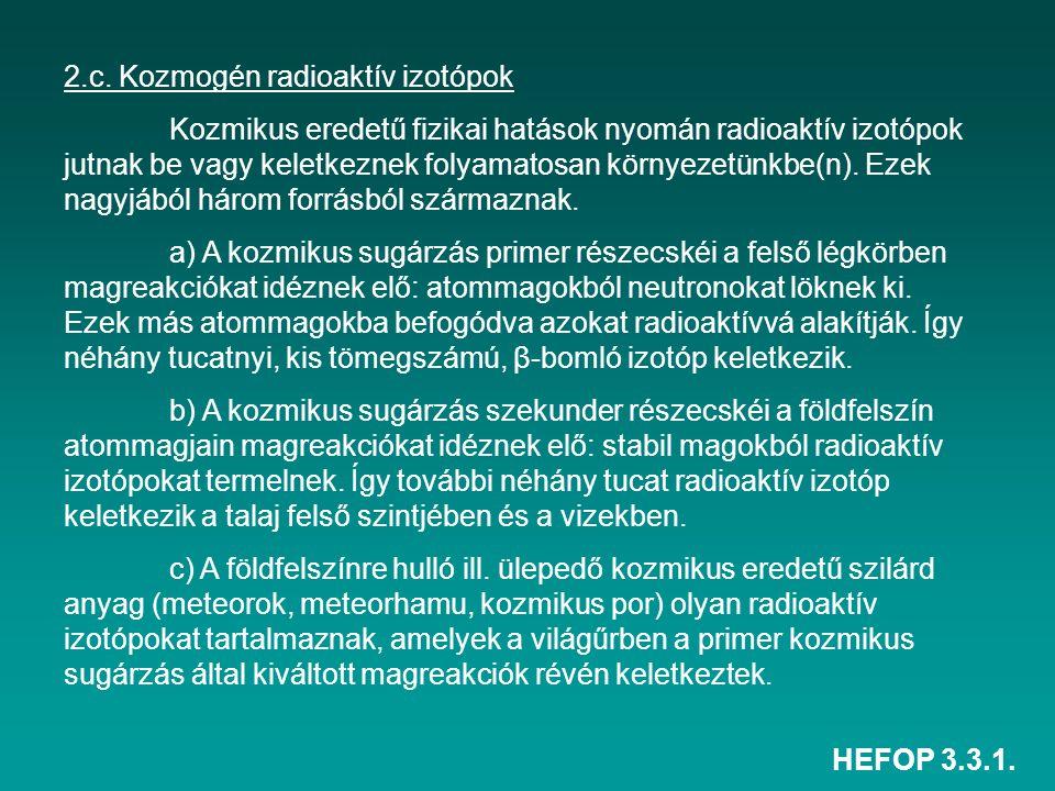 HEFOP 3.3.1. 2.c. Kozmogén radioaktív izotópok Kozmikus eredetű fizikai hatások nyomán radioaktív izotópok jutnak be vagy keletkeznek folyamatosan kör