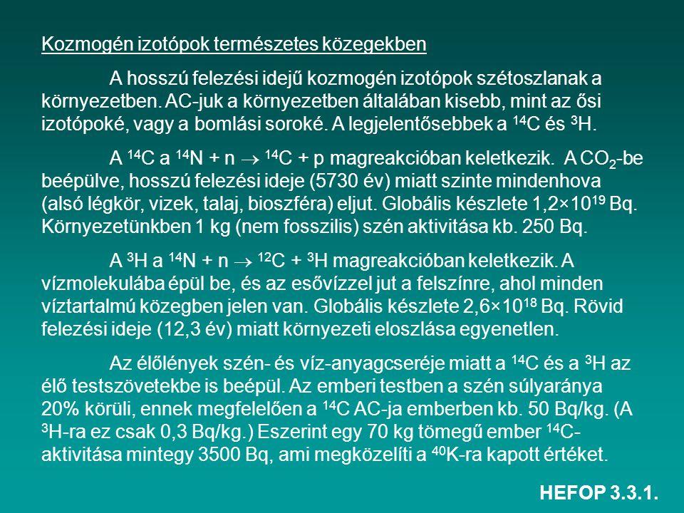 HEFOP 3.3.1. Kozmogén izotópok természetes közegekben A hosszú felezési idejű kozmogén izotópok szétoszlanak a környezetben. AC-juk a környezetben ált