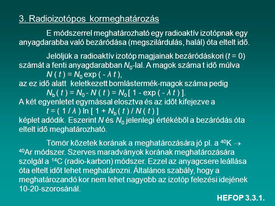 HEFOP 3.3.1. 3. Radioizotópos kormeghatározás E módszerrel meghatározható egy radioaktív izotópnak egy anyagdarabba való bezáródása (megszilárdulás, h