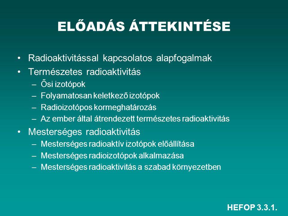HEFOP 3.3.1. Radioaktivitással kapcsolatos alapfogalmak Természetes radioaktivitás –Ősi izotópok –Folyamatosan keletkező izotópok –Radioizotópos korme