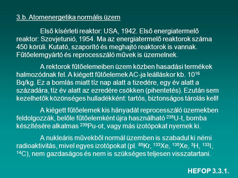 HEFOP 3.3.1. 3.b. Atomenergetika normális üzem Első kísérleti reaktor: USA, 1942. Első energiatermelő reaktor: Szovjetunió, 1954. Ma az energiatermelő