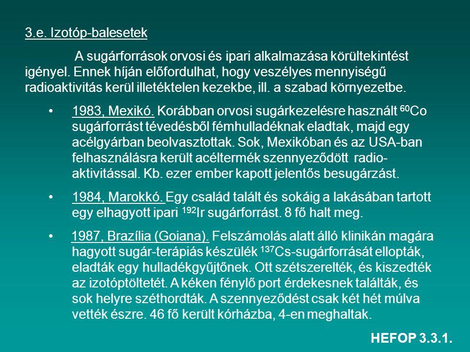 HEFOP 3.3.1. 3.e. Izotóp-balesetek A sugárforrások orvosi és ipari alkalmazása körültekintést igényel. Ennek híján előfordulhat, hogy veszélyes mennyi