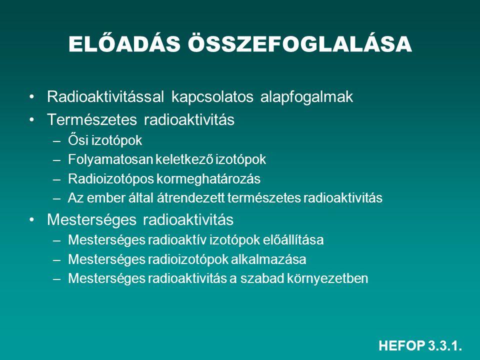 HEFOP 3.3.1. ELŐADÁS ÖSSZEFOGLALÁSA Radioaktivitással kapcsolatos alapfogalmak Természetes radioaktivitás –Ősi izotópok –Folyamatosan keletkező izotóp