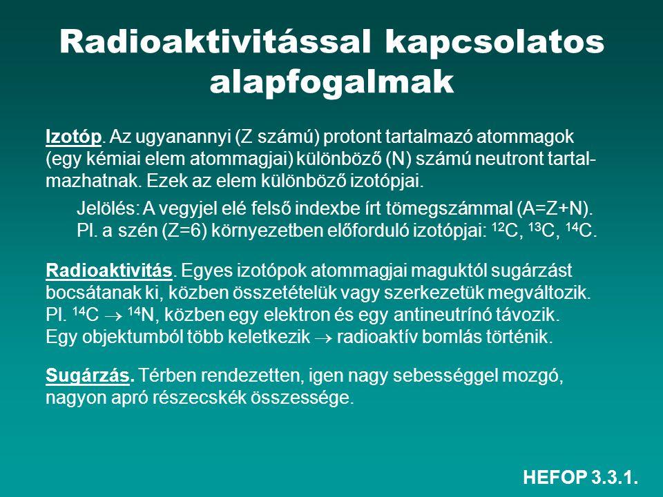 HEFOP 3.3.1. Radioaktivitással kapcsolatos alapfogalmak Izotóp. Az ugyanannyi (Z számú) protont tartalmazó atommagok (egy kémiai elem atommagjai) külö