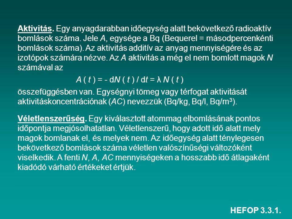 HEFOP 3.3.1. Aktivitás. Egy anyagdarabban időegység alatt bekövetkező radioaktív bomlások száma. Jele A, egysége a Bq (Bequerel = másodpercenkénti bom