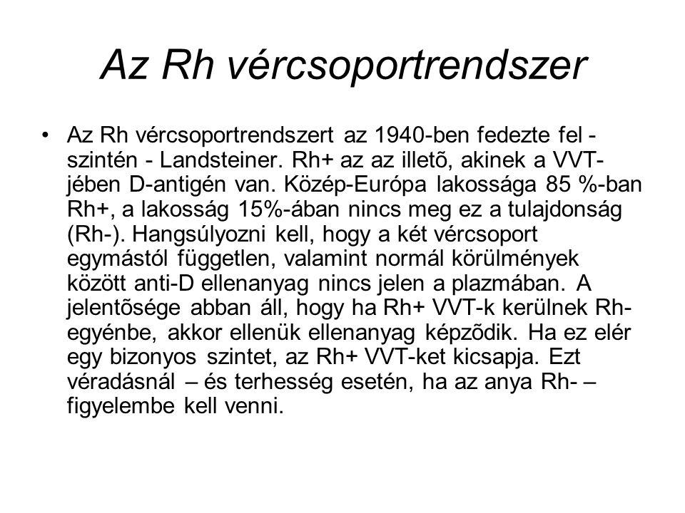 Az Rh vércsoportrendszer Az Rh vércsoportrendszert az 1940-ben fedezte fel - szintén - Landsteiner. Rh+ az az illetõ, akinek a VVT- jében D-antigén va