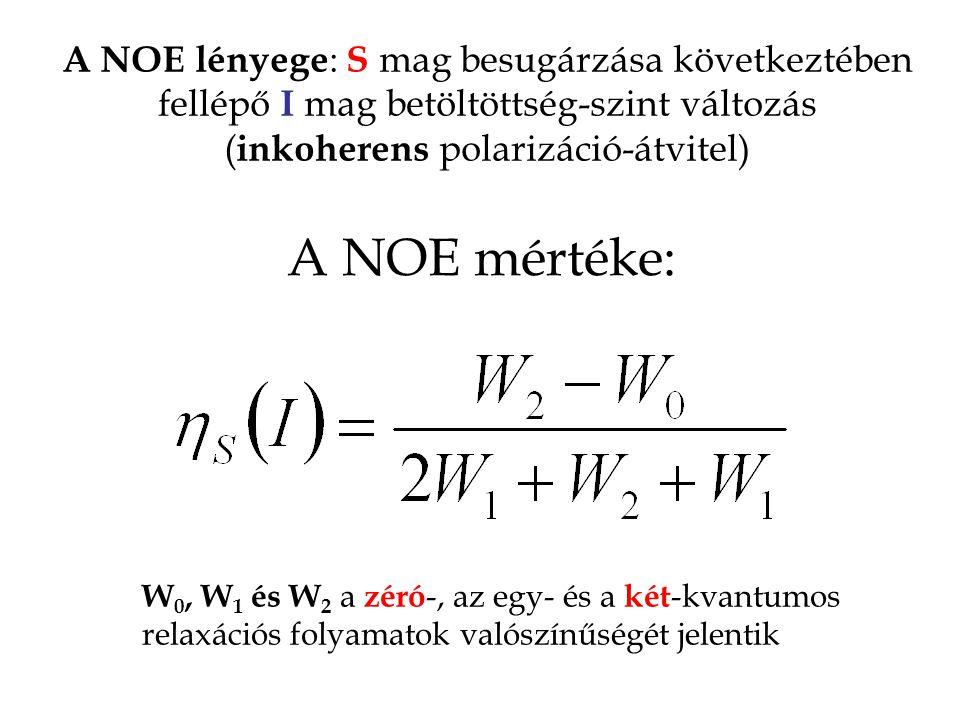 A NOE lényege : S mag besugárzása következtében fellépő I mag betöltöttség-szint változás ( inkoherens polarizáció-átvitel) A NOE mértéke: W 0, W 1 és W 2 a zéró -, az egy- és a két -kvantumos relaxációs folyamatok valószínűségét jelentik