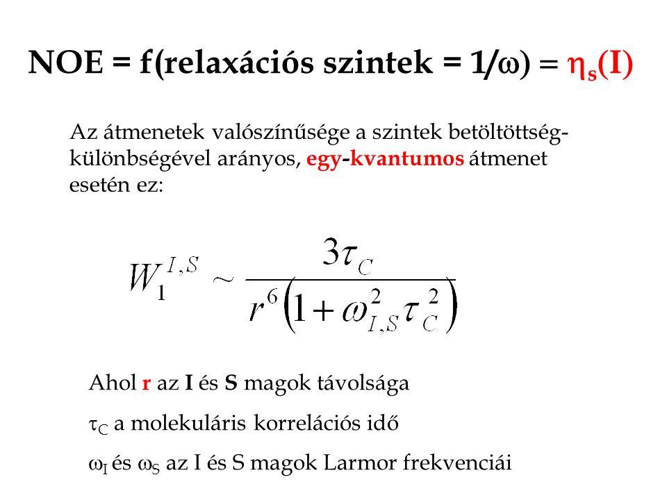 NOE = f(relaxációs szintek = 1/  s  I  Az átmenetek valószínűsége a szintek betöltöttség- különbségével arányos, egy-kvantumos átmenet esetén ez: Ahol r az I és S magok távolsága  C a molekuláris korrelációs idő  I és  S az I és S magok Larmor frekvenciái