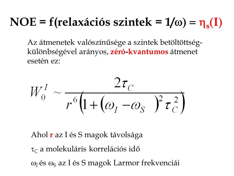 NOE = f(relaxációs szintek = 1/  s  I  Az átmenetek valószínűsége a szintek betöltöttség- különbségével arányos, zéró-kvantumos átmenet esetén ez: Ahol r az I és S magok távolsága  C a molekuláris korrelációs idő  I és  S az I és S magok Larmor frekvenciái