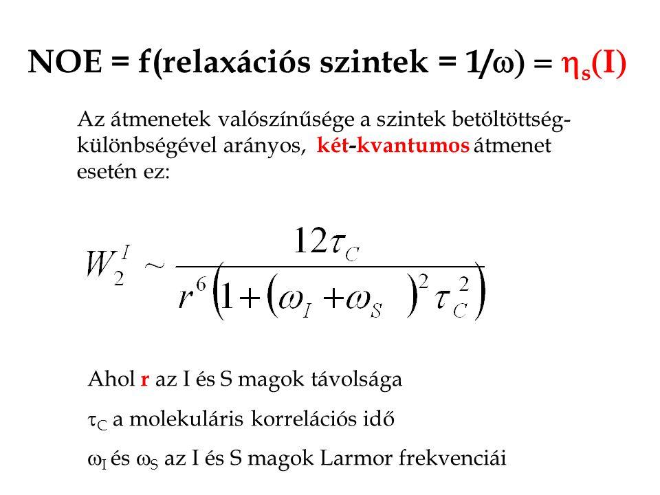 NOE = f(relaxációs szintek = 1/  s  I  Az átmenetek valószínűsége a szintek betöltöttség- különbségével arányos, két-kvantumos átmenet esetén ez: Ahol r az I és S magok távolsága  C a molekuláris korrelációs idő  I és  S az I és S magok Larmor frekvenciái