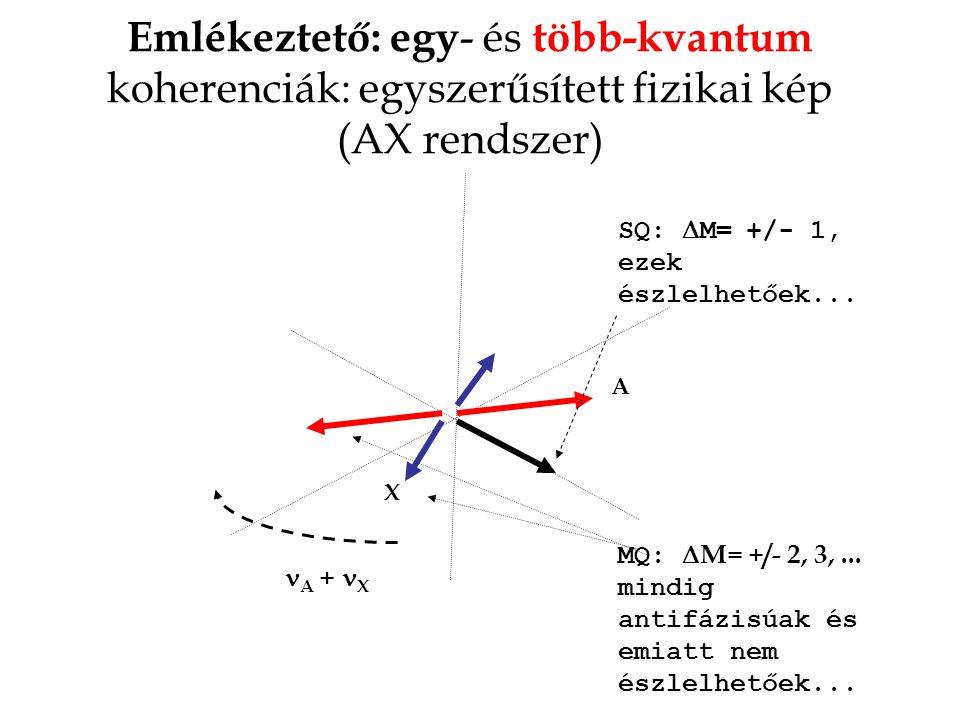 Emlékeztető: egy - és több-kvantum koherenciák: egyszerűsített fizikai kép (AX rendszer) A X A + X MQ:  M= +/- 2, 3,...
