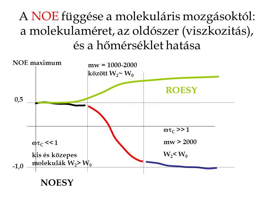 A NOE függése a molekuláris mozgásoktól: a molekulaméret, az oldószer (viszkozitás), és a hőmérséklet hatása 0,5 -1,0 NOE maximum  C << 1 kis és közepes molekulák W 2 > W 0 mw = 1000-2000 között W 2 ~ W 0  C >> 1 mw > 2000 W 2 < W 0 NOESY ROESY