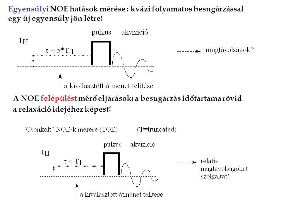 Egyensúlyi NOE hatások mérése : kvázi folyamatos besugárzással egy új egyensúly jön létre.