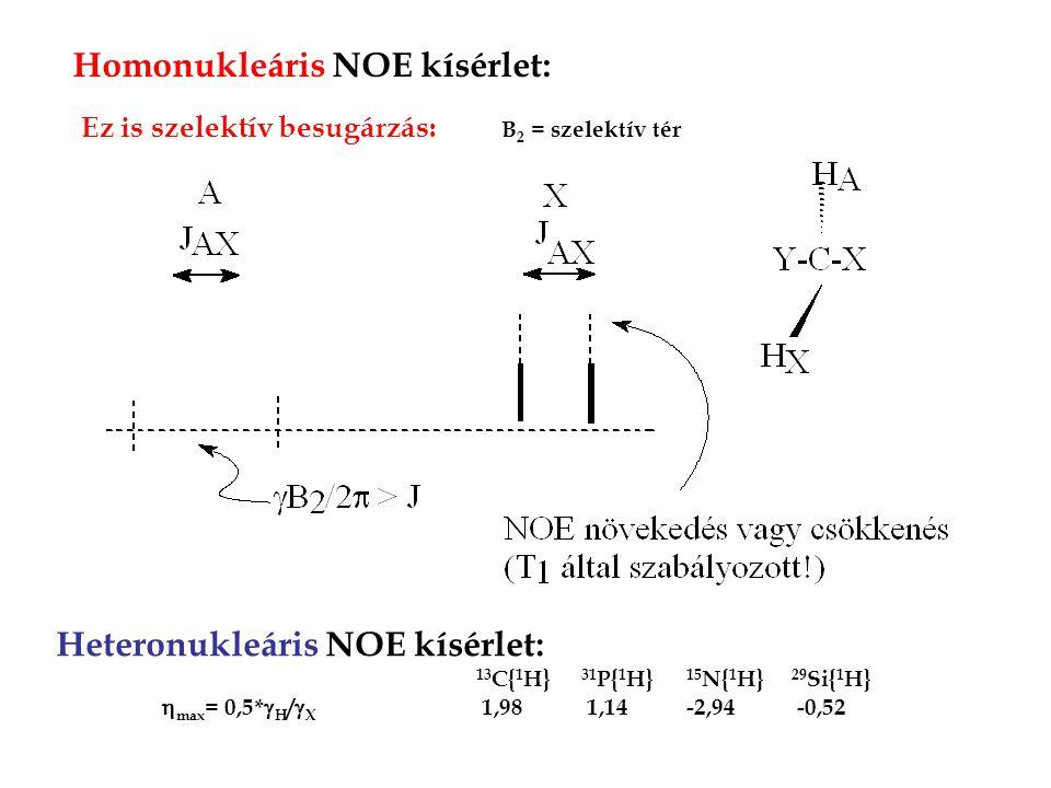 Homonukleáris NOE kísérlet: Heteronukleáris NOE kísérlet: 13 C{ 1 H} 31 P{ 1 H} 15 N{ 1 H} 29 Si{ 1 H}  max = 0,5*  H /  X 1,98 1,14-2,94 -0,52 Ez is szelektív besugárzás: B 2 = szelektív tér