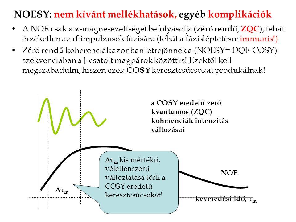 NOESY: nem kívánt mellékhatások, egyéb komplikációk A NOE csak a z -mágnesezettséget befolyásolja ( zéró rendű, ZQC ), tehát érzéketlen az rf impulzusok fázisára (tehát a fázisléptetésre immunis!) Zéró rendű koherenciák azonban létrejönnek a (NOESY= DQF-COSY) szekvenciában a J-csatolt magpárok között is.