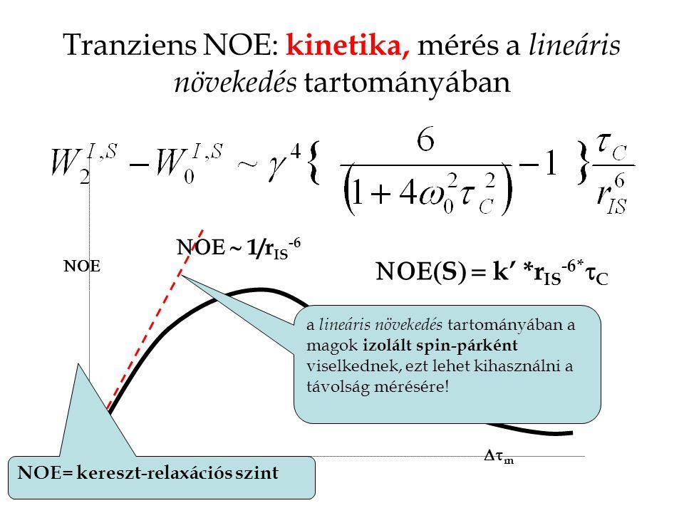Tranziens NOE: kinetika, mérés a lineáris növekedés tartományában  m   1/r IS -6  S  k' *r IS -6*  C a lineáris növekedés tartományában a magok izolált spin-párként viselkednek, ezt lehet kihasználni a távolság mérésére.