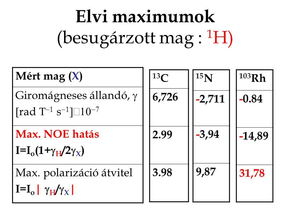 Elvi maximumok (besugárzott mag : 1 H) Mért mag (X) Giromágneses állandó,   rad    s    Max.