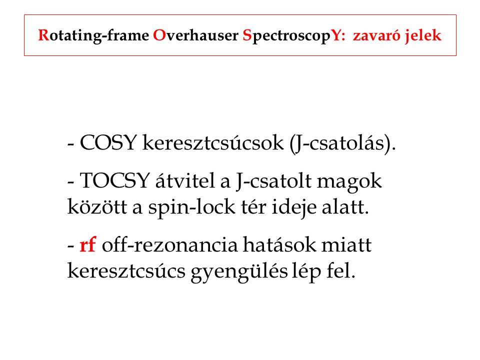 Rotating-frame Overhauser SpectroscopY: zavaró jelek - COSY keresztcsúcsok (J-csatolás).