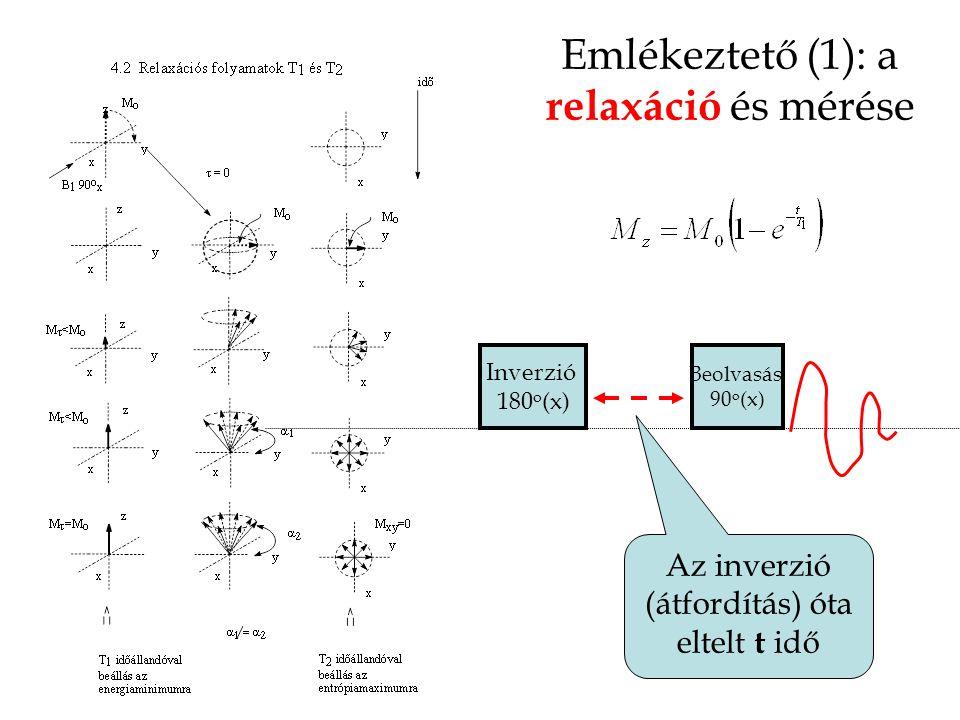 Emlékeztető (1): a relaxáció és mérése Beolvasás 90 o (x) Inverzió 180 o (x) Az inverzió (átfordítás) óta eltelt t idő