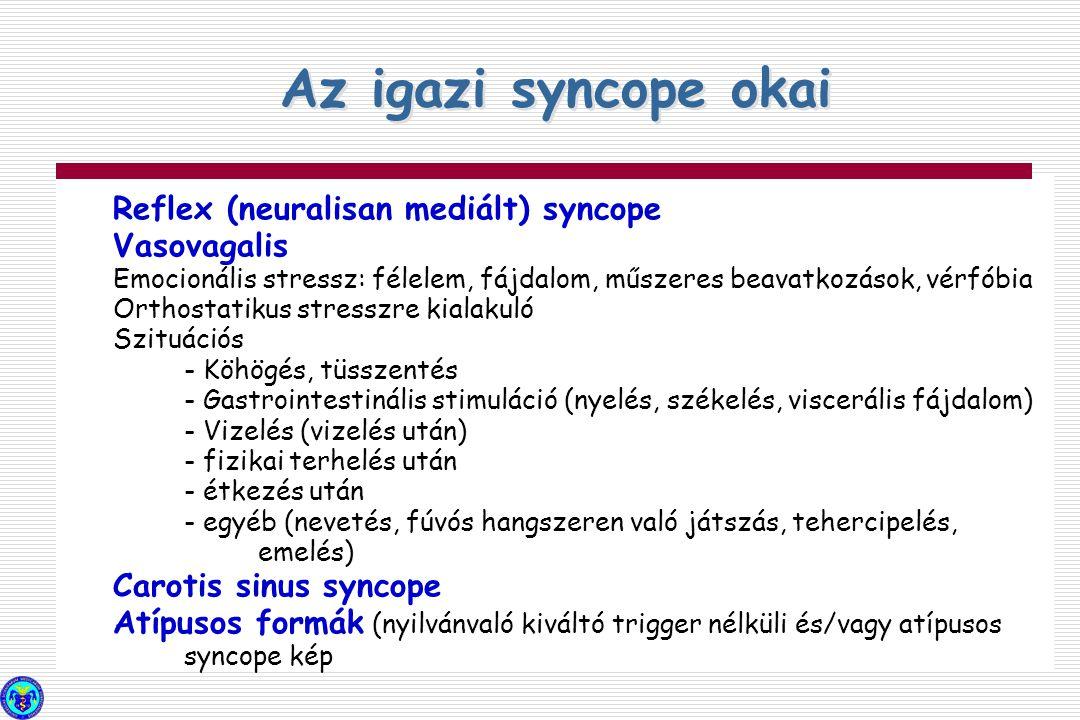 Reflex (neuralisan mediált) syncope Vasovagalis Emocionális stressz: félelem, fájdalom, műszeres beavatkozások, vérfóbia Orthostatikus stresszre kiala