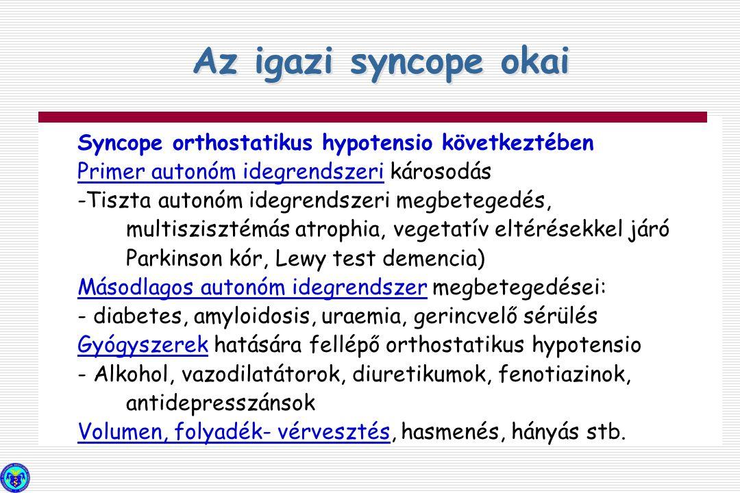 Syncope orthostatikus hypotensio következtében Primer autonóm idegrendszeri károsodás -Tiszta autonóm idegrendszeri megbetegedés, multiszisztémás atro