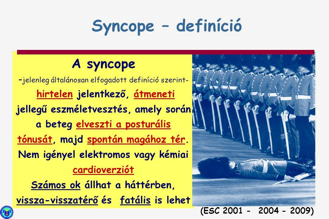 A syncope – jelenleg általánosan elfogadott definíció szerint- hirtelen jelentkező, átmeneti jellegű eszméletvesztés, amely során a beteg elveszti a p