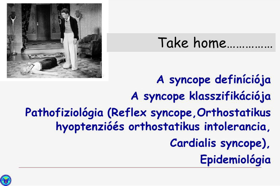 A syncope definíciója A syncope klasszifikációja Pathofiziológia (Reflex syncope,Orthostatikus hyoptenzióés orthostatikus intolerancia, Cardialis sync