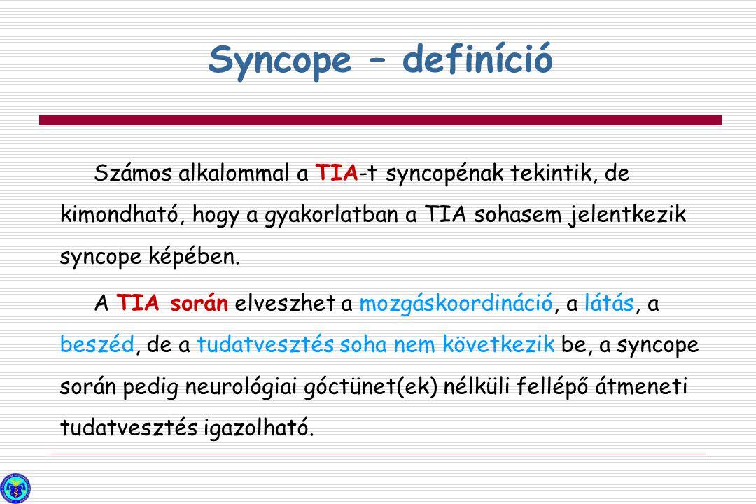 Számos alkalommal a TIA-t syncopénak tekintik, de kimondható, hogy a gyakorlatban a TIA sohasem jelentkezik syncope képében. A TIA során elveszhet a m