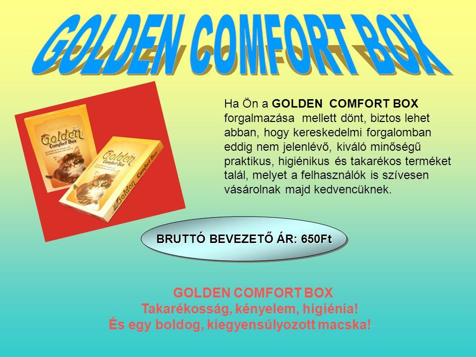 Ha Ön a GOLDEN COMFORT BOX forgalmazása mellett dönt, biztos lehet abban, hogy kereskedelmi forgalomban eddig nem jelenlévő, kiváló minőségű praktikus