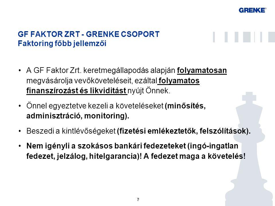 7 7 GF FAKTOR ZRT - GRENKE CSOPORT Faktoring főbb jellemzői A GF Faktor Zrt. keretmegállapodás alapján folyamatosan megvásárolja vevőköveteléseit, ezá