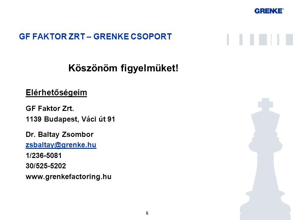 8 8 GF FAKTOR ZRT – GRENKE CSOPORT Köszönöm figyelmüket! Elérhetőségeim GF Faktor Zrt. 1139 Budapest, Váci út 91 Dr. Baltay Zsombor zsbaltay@grenke.hu