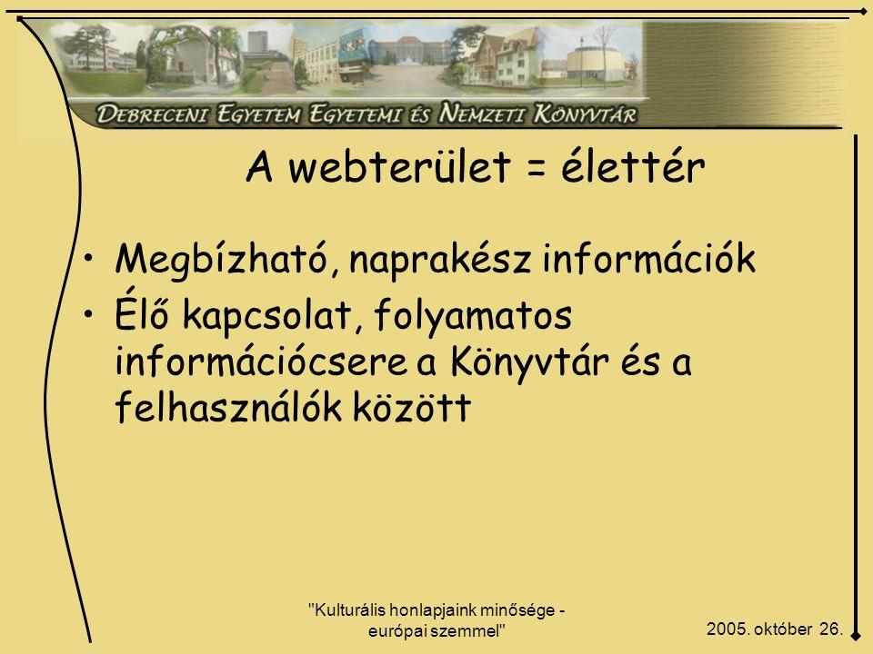 Kulturális honlapjaink minősége - európai szemmel A webterület = élettér 2005.