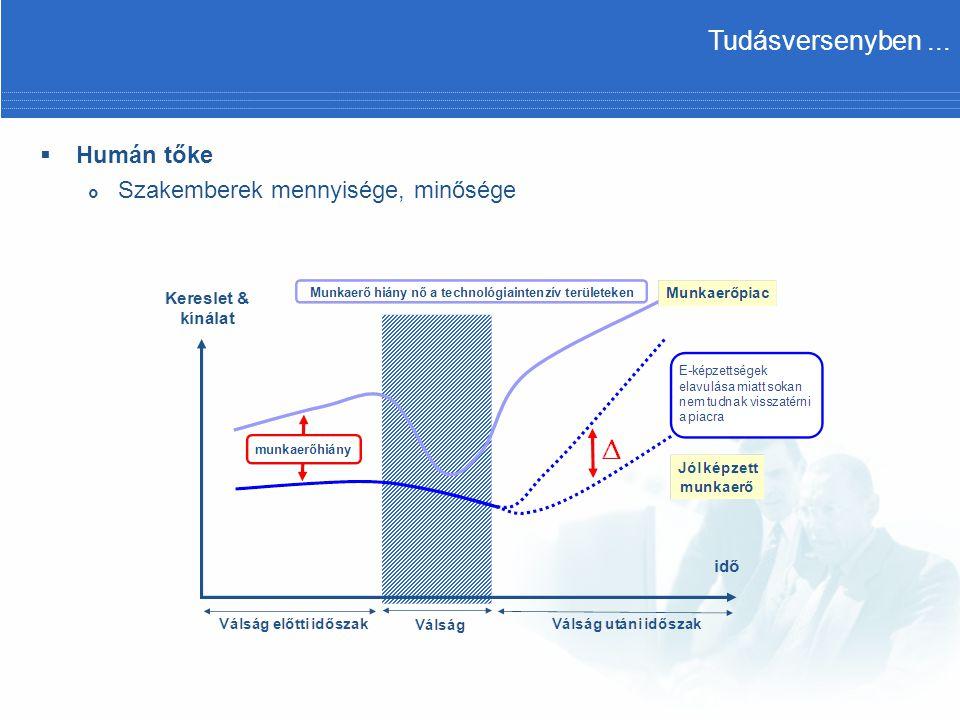  Humán tőke  Szakemberek mennyisége, minősége, képzettség fentarthatósága Kiváló műszaki szakemberek jelenléte a munkaerőpiacon 2007 (1: hiányzik, 10: jelen van) Tudásversenyben...