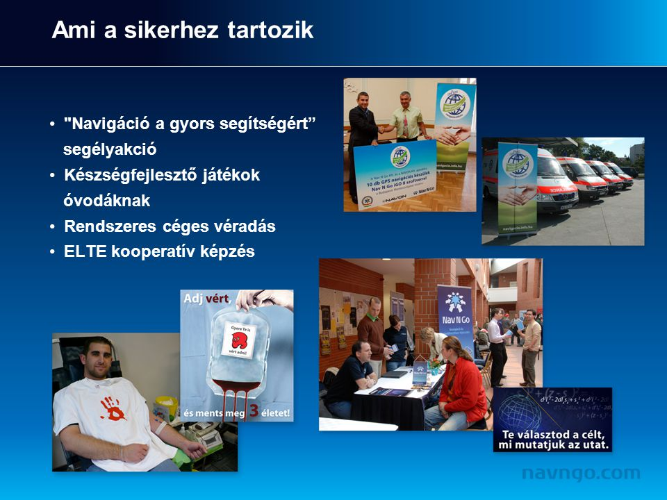 Ami a sikerhez tartozik Navigáció a gyors segítségért segélyakció Készségfejlesztő játékok óvodáknak Rendszeres céges véradás ELTE kooperatív képzés