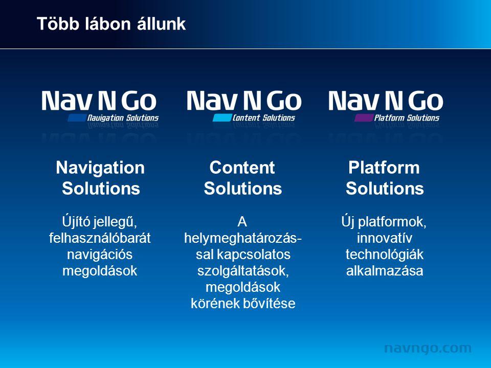 Több lábon állunk Navigation Solutions Újító jellegű, felhasználóbarát navigációs megoldások Content Solutions A helymeghatározás- sal kapcsolatos szolgáltatások, megoldások körének bővítése Platform Solutions Új platformok, innovatív technológiák alkalmazása