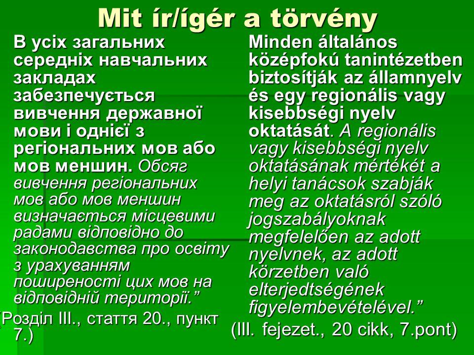 Mit ír/ígér a törvény В усіх загальних середніх навчальних закладах забезпечується вивчення державної мови і однієї з регіональних мов або мов меншин.