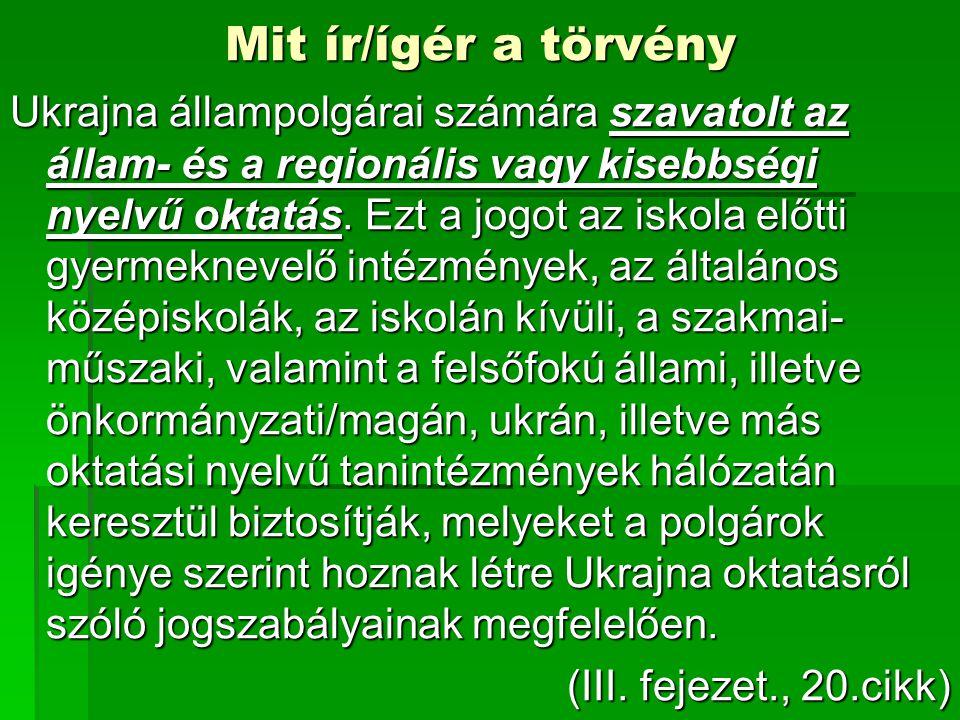 Mit ír/ígér a törvény Ukrajna állampolgárai számára szavatolt az állam- és a regionális vagy kisebbségi nyelvű oktatás.
