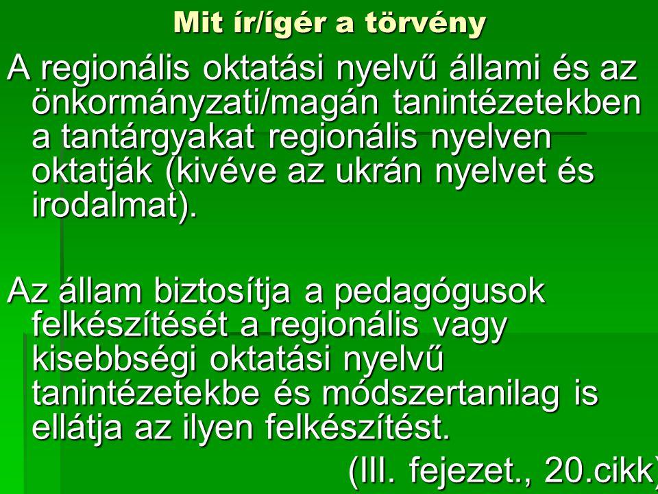 Mit ír/ígér a törvény A regionális oktatási nyelvű állami és az önkormányzati/magán tanintézetekben a tantárgyakat regionális nyelven oktatják (kivéve az ukrán nyelvet és irodalmat).
